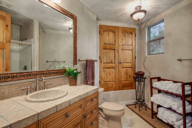 Enjoy the full amenities of a hotel bathroom in the guest home.