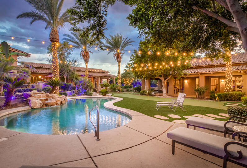 Resort style back yard with heated pool