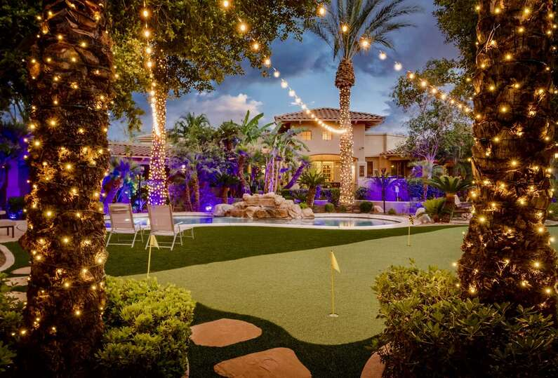 Putting Green and Pool in the Backyard of our Scottsdale AZ Vacation Home Rental