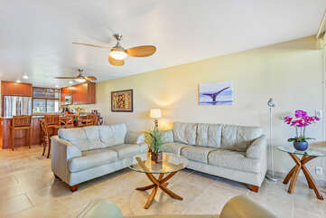 Comfortable Seating and Updated Furnishings inside our Kona vacation Villa