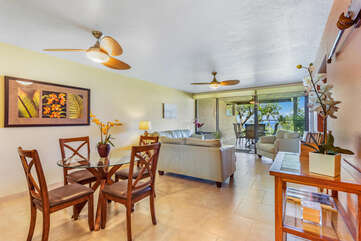 Dining Area attached to Living Area inside our Kona Vacation Villa