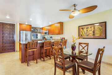 Dining Area and Bar Seating at our Kona Vacation Villa