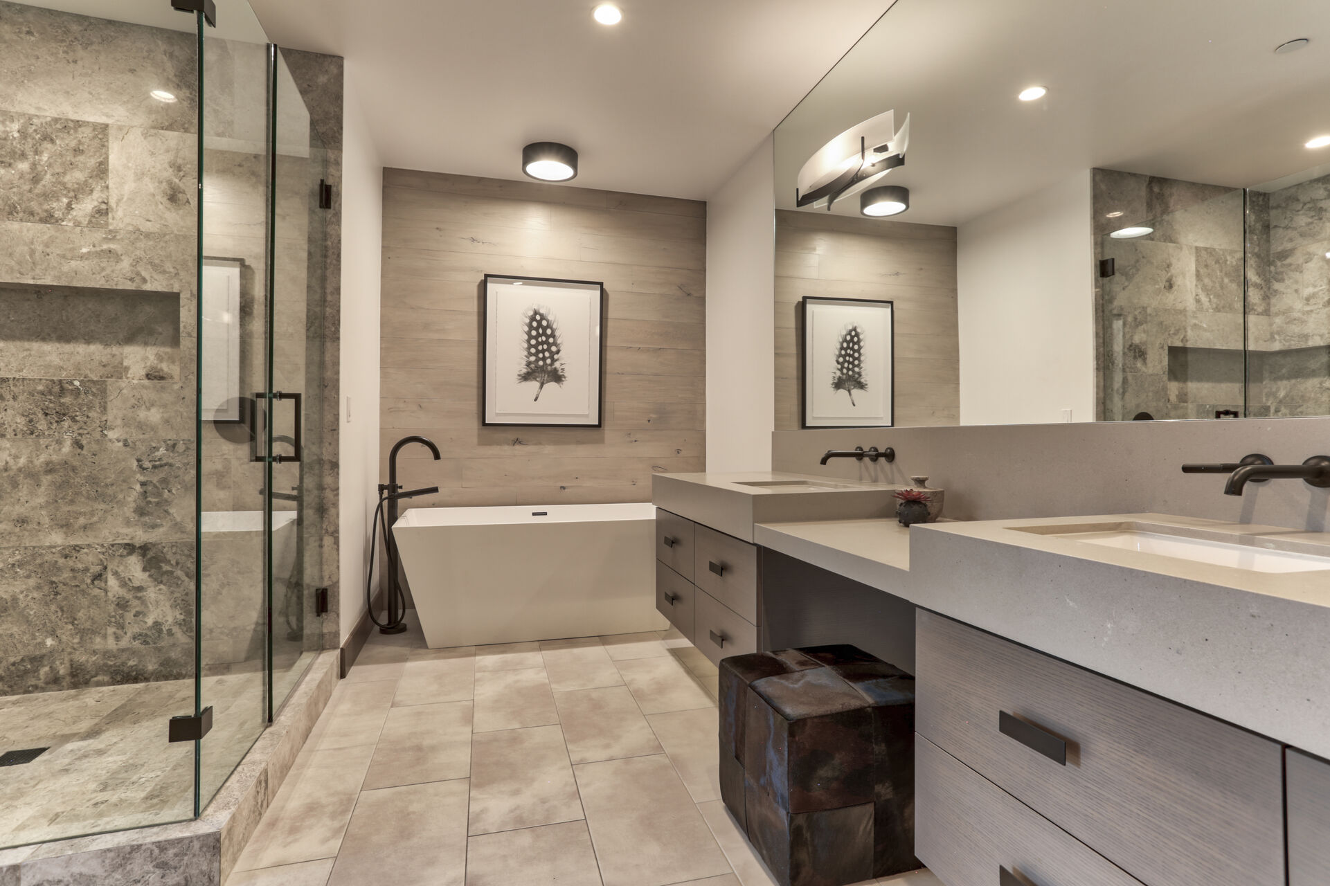 Master Bath with Dual Vanities, a Soaking Tub and Large Tile Shower with Automatic Bathroom Lighting