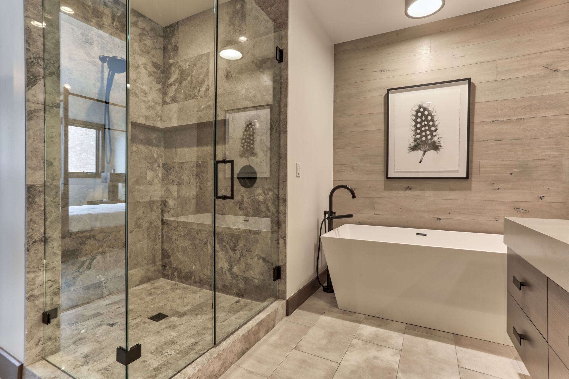 Master Bath with Dual Vanities, a Soaking Tub and Large Tile Shower