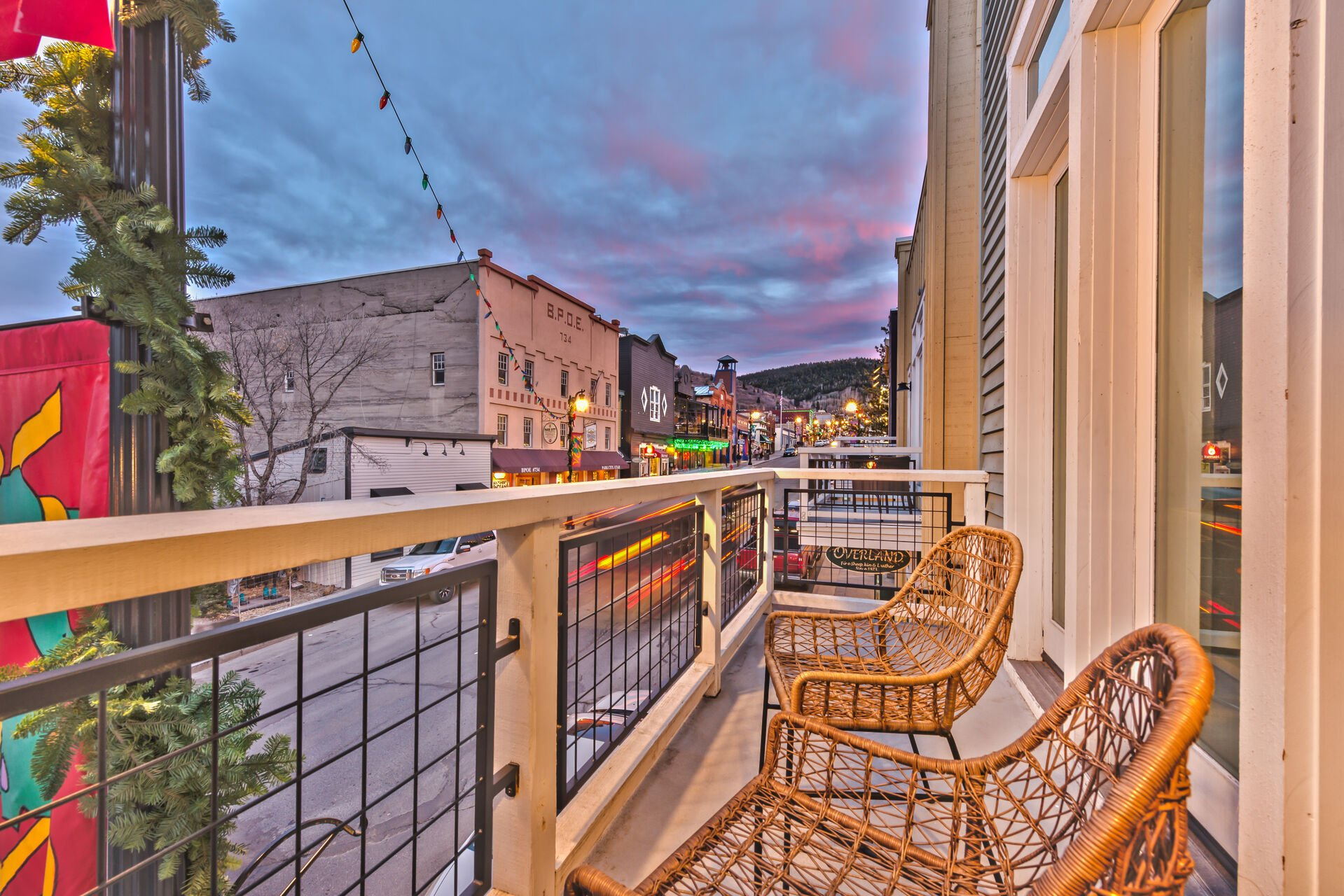 Private Deck Off Living Room Overlooking Main Street with Mountain Views