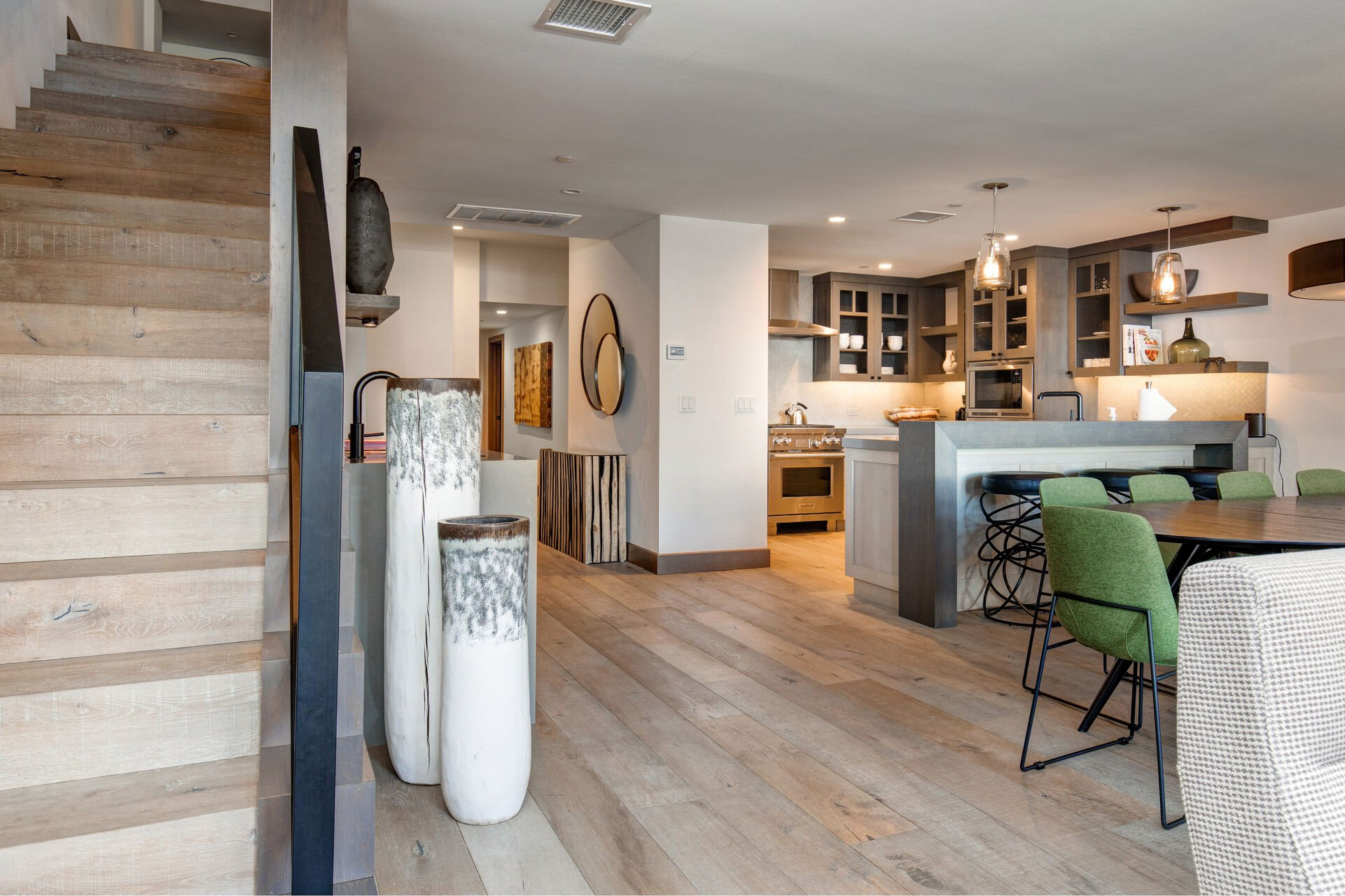 Dining Area, Kitchen Bar Seating and Wet Bar with Wine Fridge