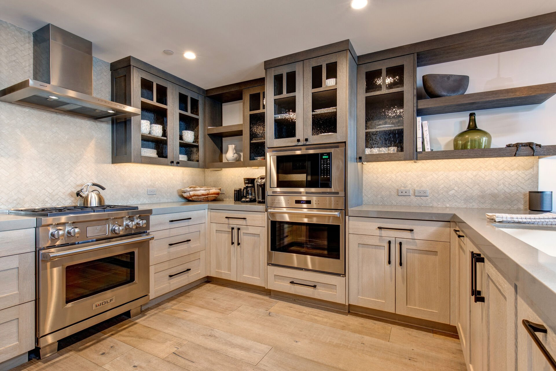 Fully Equipped Gourmet Kitchen with SubZero Refrigerator, Wolf Appliances, and High-End Finishes