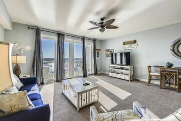 Beautiful living room with big screen TV