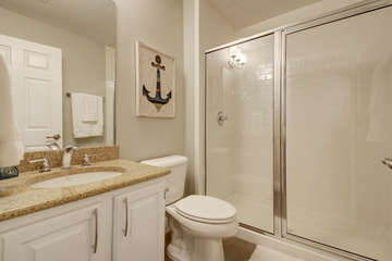 2nd full-sized bathroom! Located just off of the second bedroom in the hallway