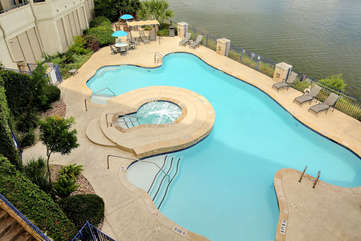 The outdoor pool and hot tub! Of course, overlooking Lake Travis!! Tons of seating for you to unwind and relax.