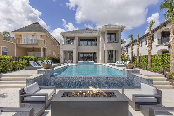 Soak up some sun, swim some laps or sit by the fire at this luxury villa