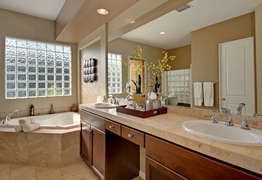 Master bathroom sink and tub