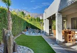 Grassy area in backyard