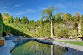 Pool with fully fenced backyard