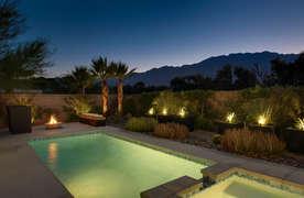 Pool and spa lights illuminated