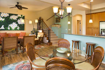 Dining Table, Chairs, Breakfast Bar, Accent Chairs, and Ceiling Fan