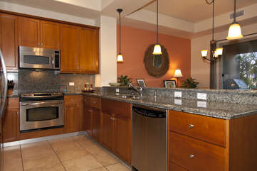 Kitchen with Dishwasher, Refrigerator, and Microwave
