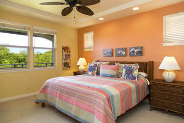 Large Bed, Ceiling Fan, and Nightstands