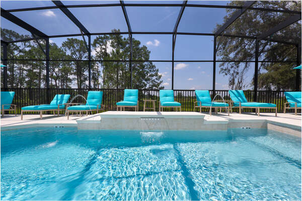More sun loungers than other homes due to the extended pool deck