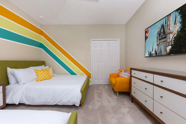 Full / Full upstairs bedroom with 55