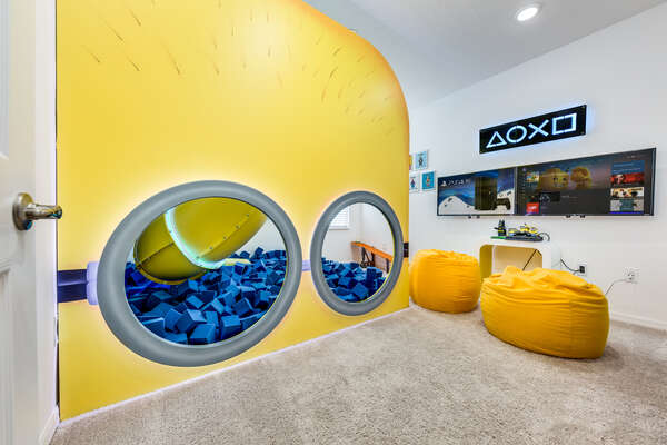 Secret playroom with games consoles