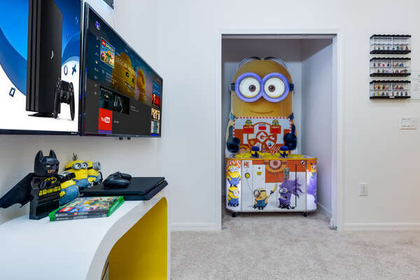 Upstairs secret playroom with arcade and games console