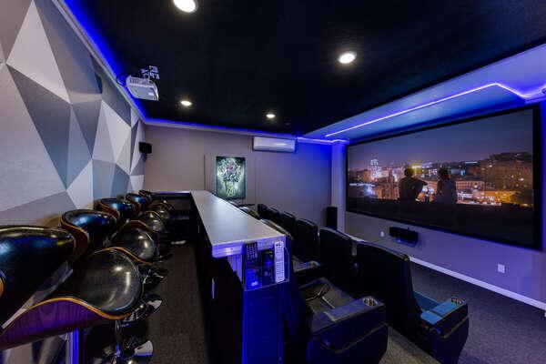 Stunning movie room with surround sound