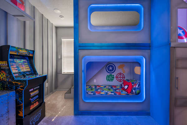 Super Hero bedroom with access to secret playroom