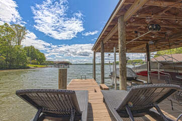 Lounge Chairs in the Dock of our Smith Mountain Lake Vacation Rental Home.