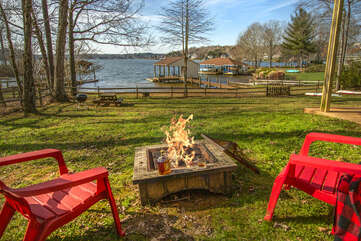Fire Pit Overlooking the Lake and Sunsets
