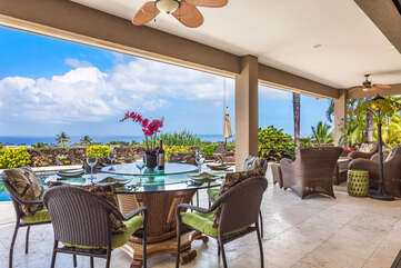 Large Lanai offers Ample Seating and Spectacular Ocean Views
