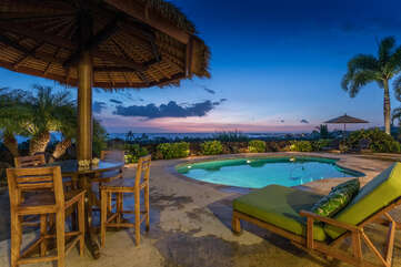 Nighttime Views of the Ocean and Pool at Hale Akoa