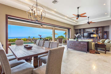 Inside Dining and Living Area with Ocean Views at Kona Hawaii Vacation Rentals