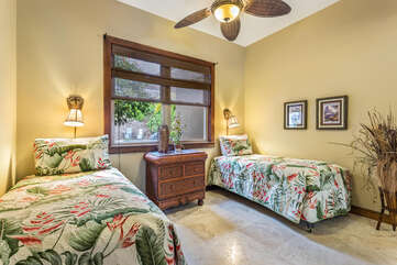 Bedroom 3 with Two Twin Beds and Tropical Decor