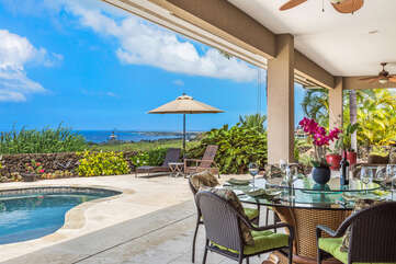 Covered Outside Dining by the Pool at Kona Hawaii Vacation Rentals