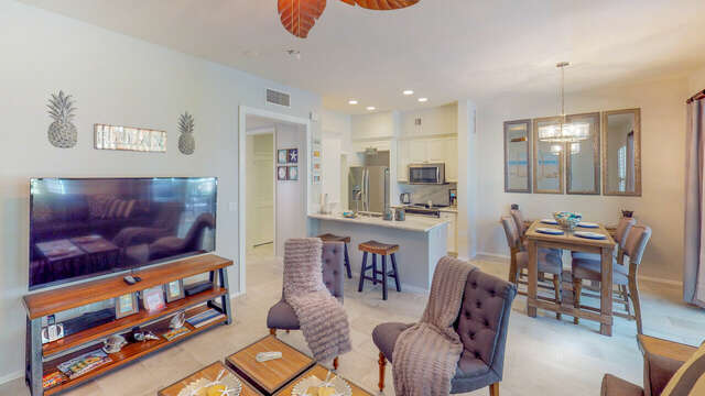 Open Kitchen, Dining, and Living Area in our Ko Olina Rental