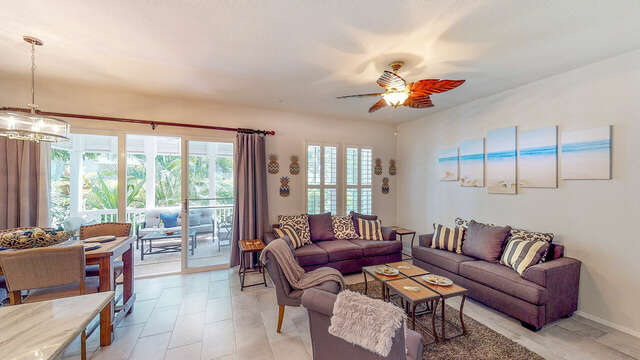 Spacious Living Area in our Ko Olina Rental