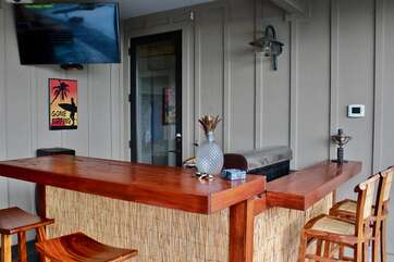 Poolside Bar with Flat Screen and Entry to Bedroom 4