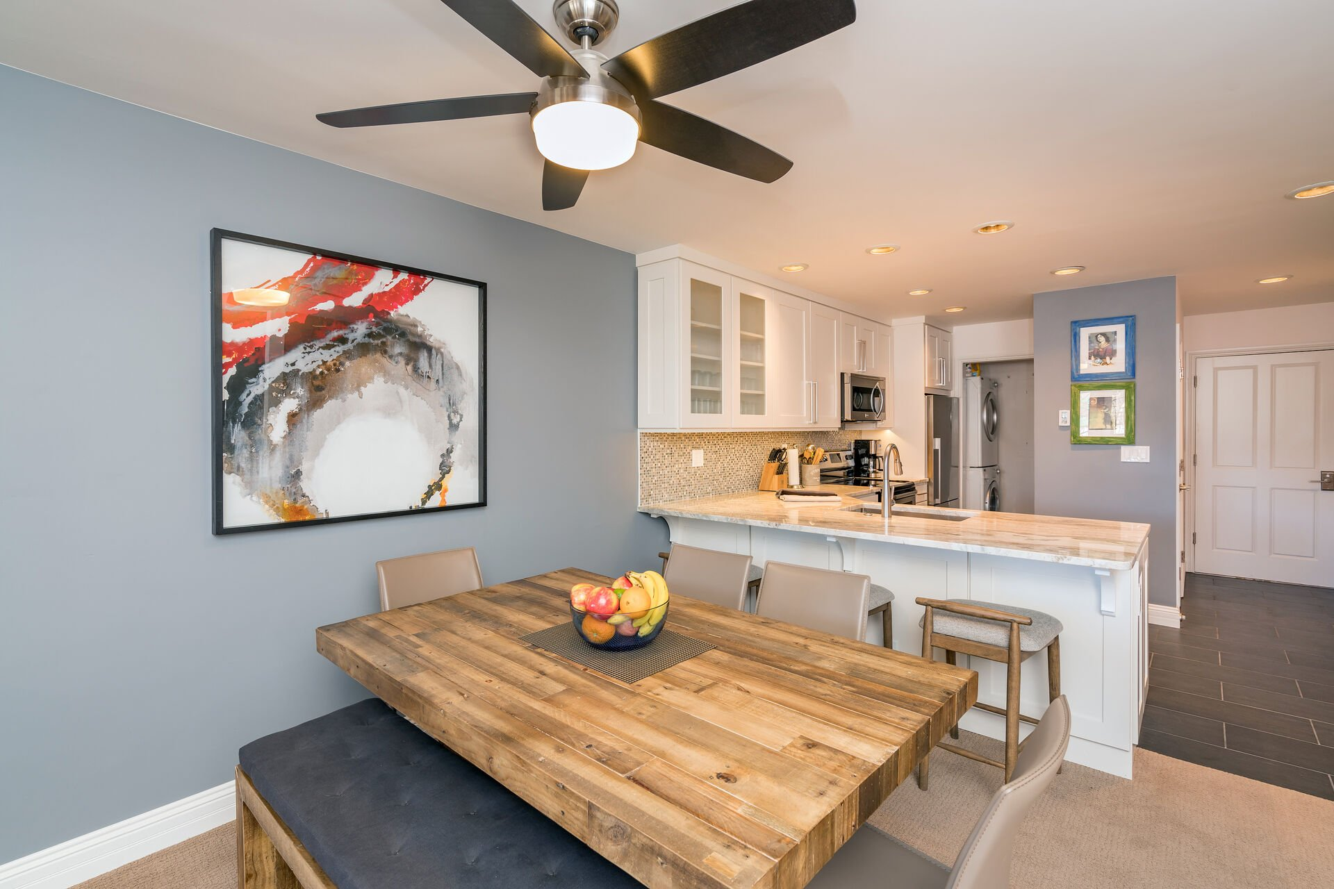 Dining Table, Chairs, Bench, Breakfast Bar, and Ceiling Fan