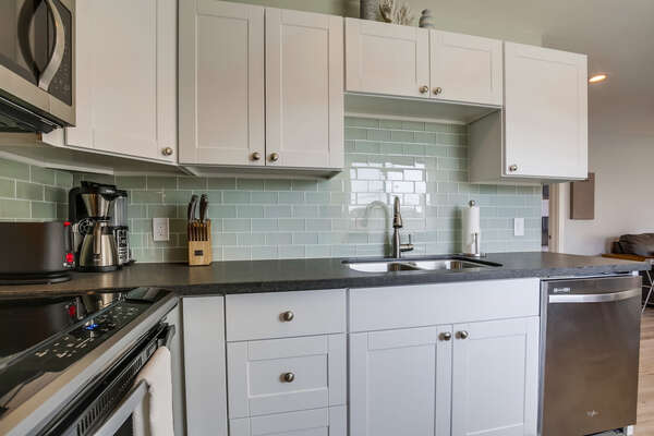 Beautiful White Cabinets in Kitchen.