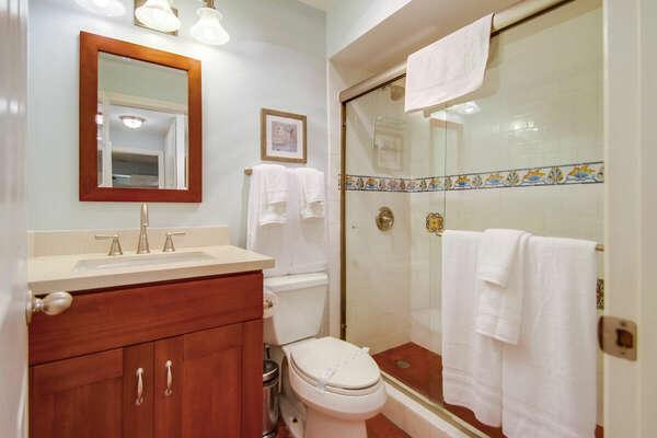 Master Bath Features a Glass Door Walk-In Shower