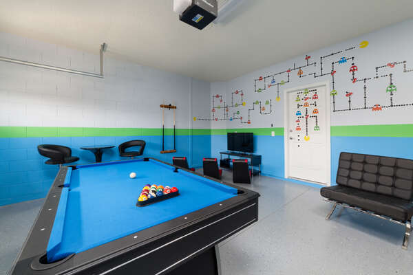 Get your game on in the converted garage game room