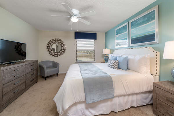 You`ll sleep comfortably in this calm upstairs king bedroom