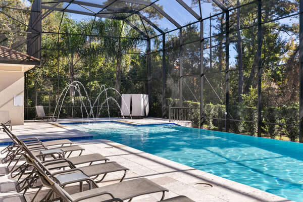 A gorgeous south facing patio ensures that you will have sun all day at your pool