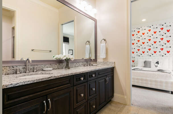 A Jack-n-Jill bathroom for the bedrooms to share