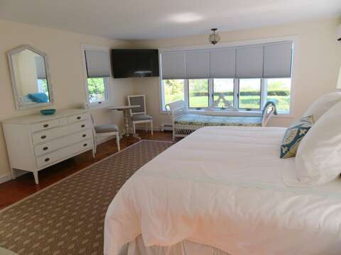 1st Floor Master Bedroom has a King bed and flat screen TV -and ensuite bath- 117 Old Wharf Road Chatham Cape Cod - New England Vacation Rentals