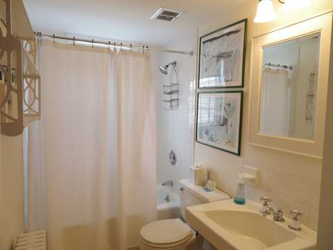 Full bath with tub and shower in hall- 117 Old Wharf Road Chatham Cape Cod - New England Vacation Rentals