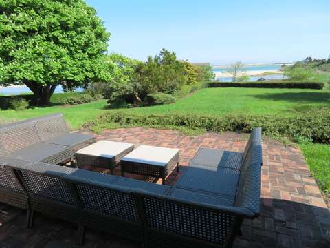 Comfy seating to enjoy the views on the outdoor patio 117 Old Wharf Road Chatham Cape Cod - New England Vacation Rentals