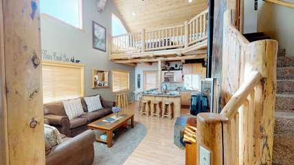 This inviting living room is the best place to hang out and enjoy your time in Yellowstone Country.