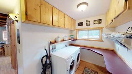 A washer and dryer is located at the cabin for your use.